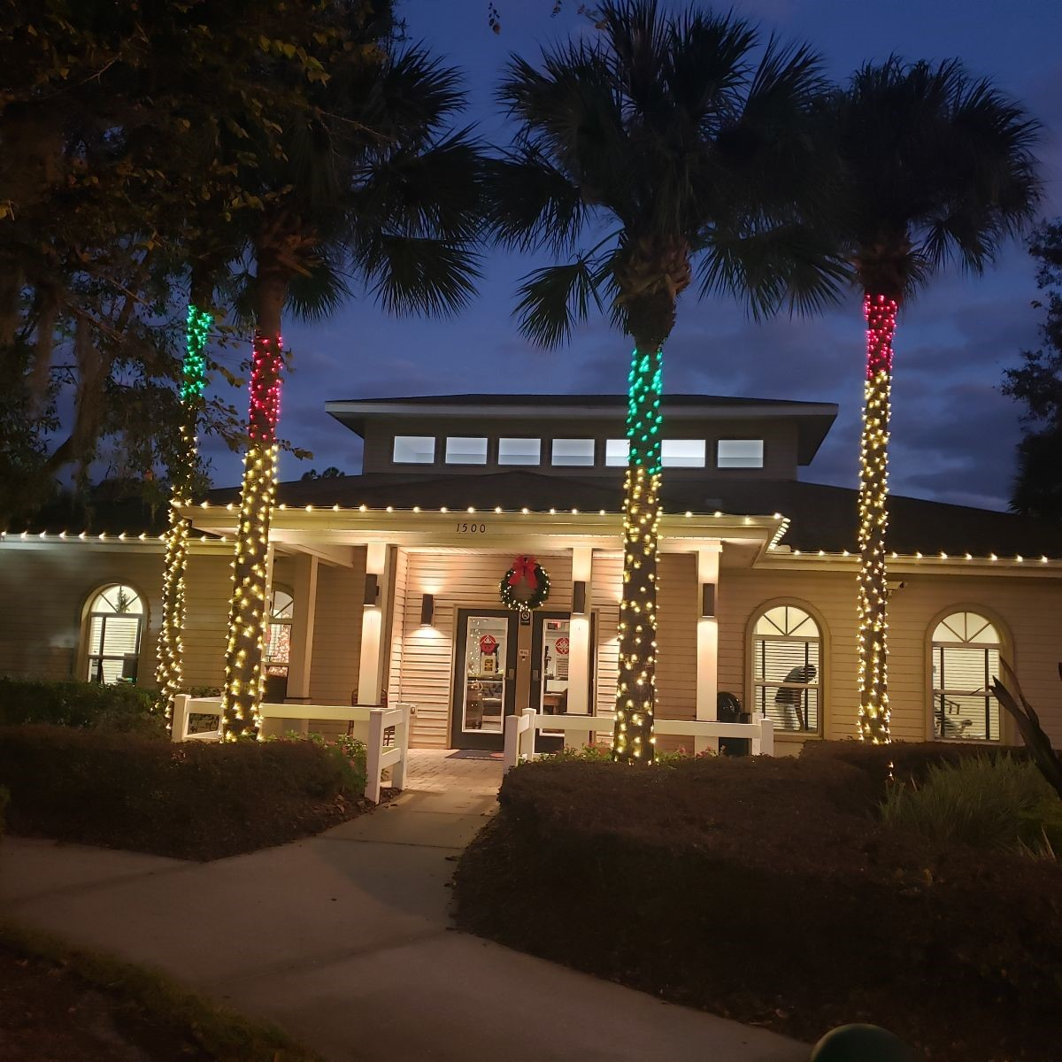 Clubhouse with Christams lights