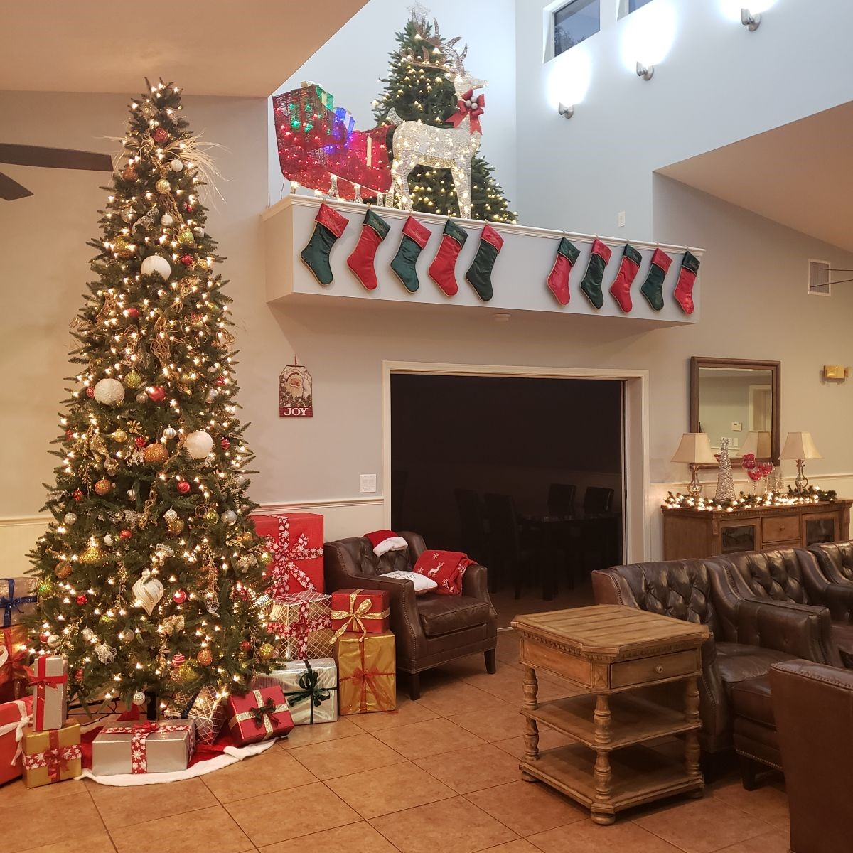 Inside Clubhouse with Christmas Decorations