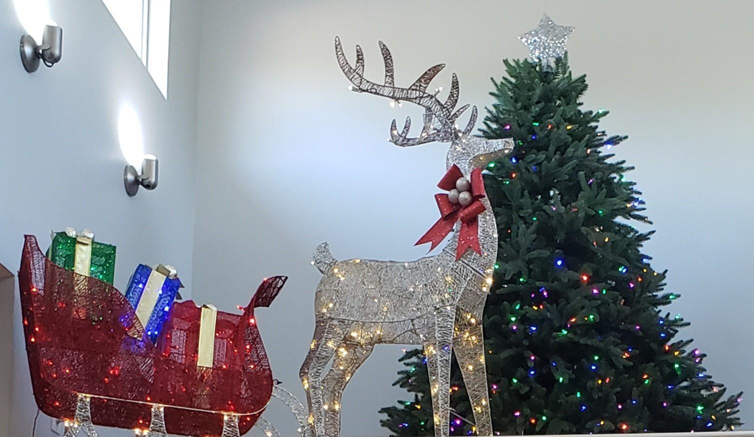 Inside Clubhouse with Christmas Tree and decorations