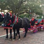 Horses and Sleigh with Holiday Decorations